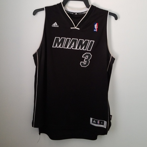 info for f06d8 a057b Miami Heat Jersey black and white Wade #3